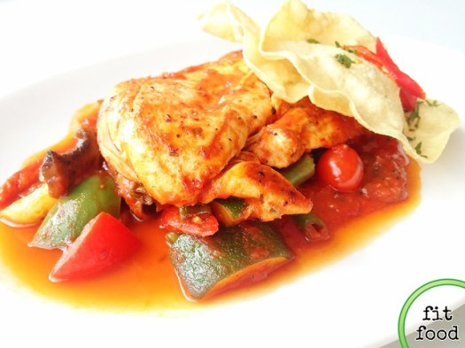 Chicken fricassee on a bed of cumin-roasted ratatouille