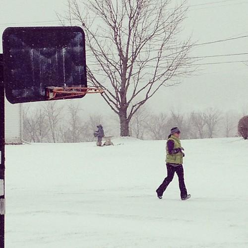 8mi in snow, unplowed roads and Yaktrax. I get my Real Runner title now, right? #runjennarun #clevelandhalf #training