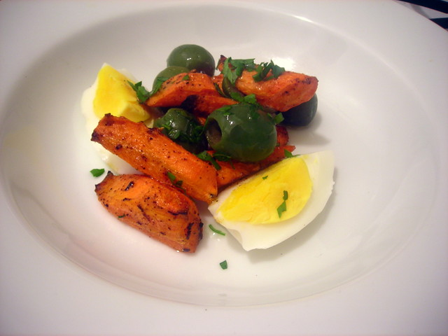 """A Night in Tunisia"" -- roasted carrots, Castelvetrano olives, hard-cooked farm egg"
