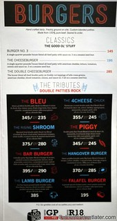 Burger Bar menu - burgers