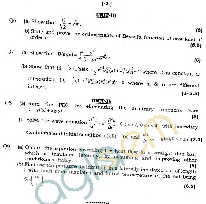 GGSIPU Question Papers Third Semester – End Term 2011 – ETMA-201
