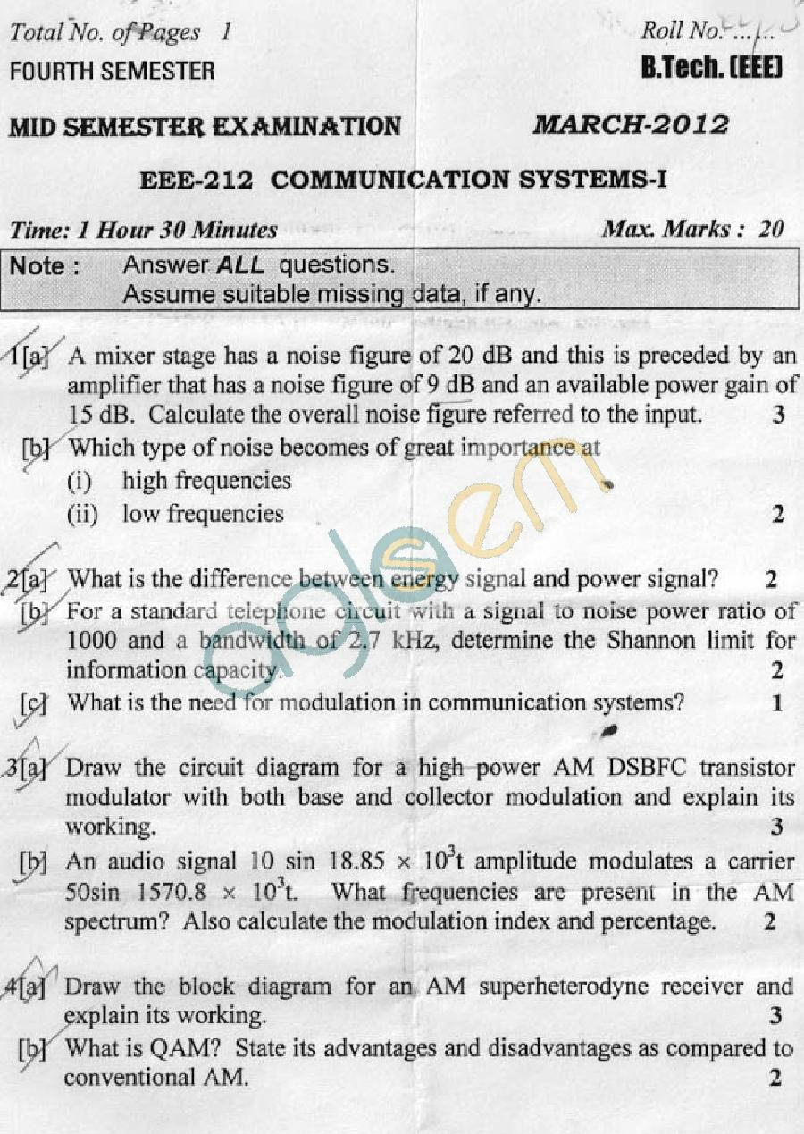 DTU: Question Papers 2012 - 4 Semester - Mid Sem - EEE-212