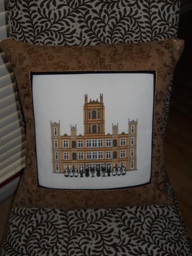 downton abbey cross stitch pillow