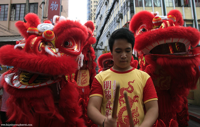 Lion dancers in Chinatown