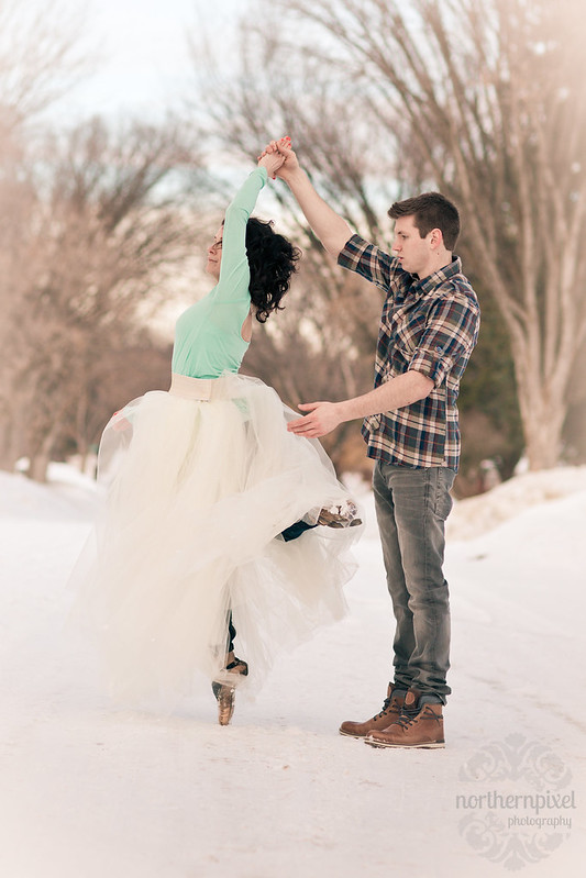Winter Engagement Session Dancing Twirl Ballet Prince George