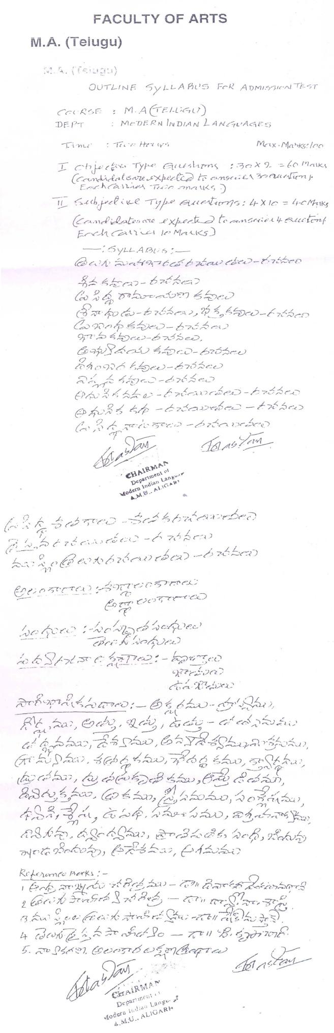 AMU Syllabus - Arts - M. A. Telugu