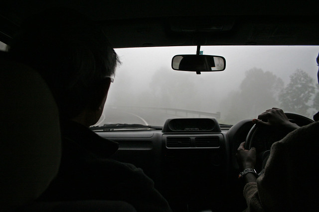 foggy drive from Volcanoes