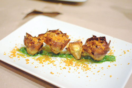 CARCIOFI ALL GIUDIA CON BATTUTO E BOTTARGA fried artichokes, beaten sauce, mullet roe