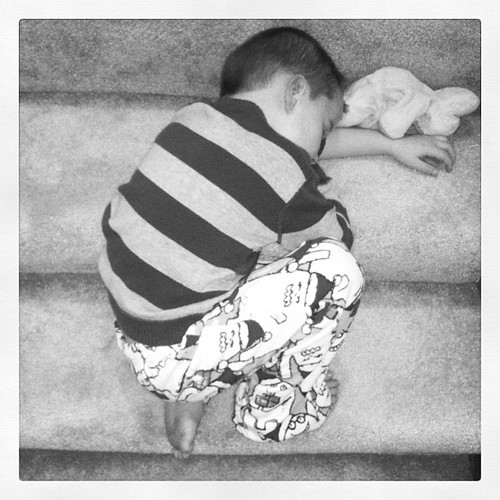 Bennett Patrick- the boy who sleeps on top of the stairs, like Harry Potter in reverse. #thiskidisridiculous #harrypotter