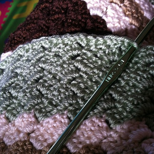 Flattened #edge in #green. Happier!  #crochet #crazy #stitch #afghan