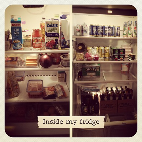 Feb 15 - inside my fridge {left-kitchen fridge / right-beverage-overflow fridge} #fmsphotoaday #fridge
