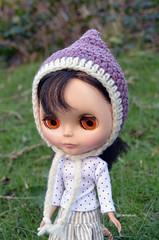 Purple and Cream Pixie Hat