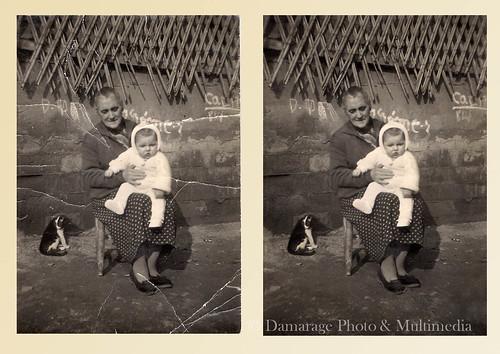 Anciana sentada con su nieto en brazos