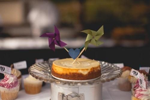 Cheesecake with pinwheel cake topper
