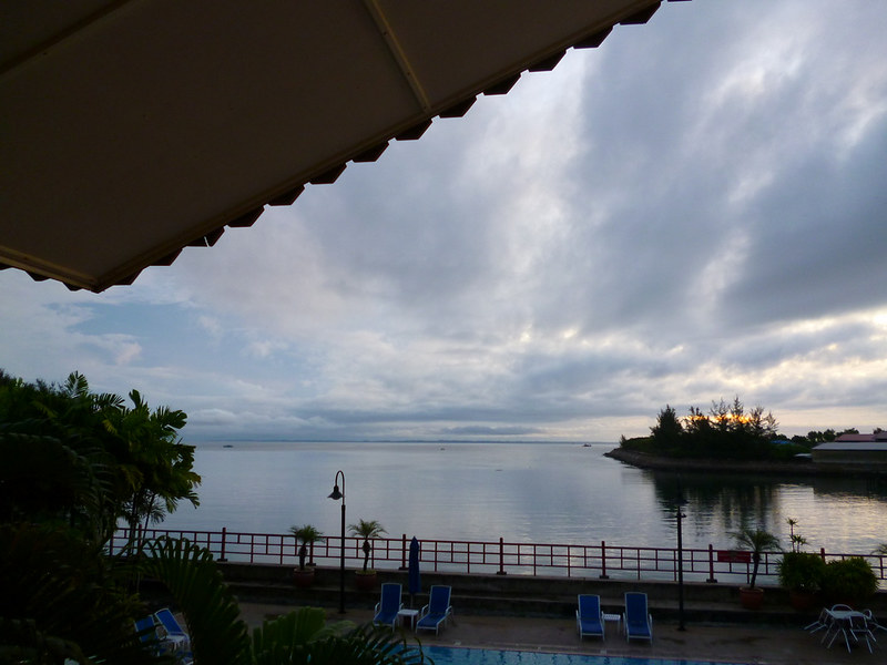 View from lobby, overlooking swimming pool at Kudat Golf & Marina Resort