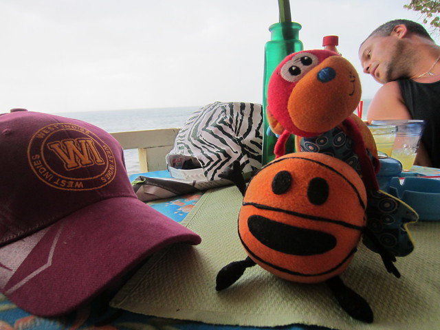 Travel mascot meetup!! Also, Matt's awesome West Indies cricket cap.