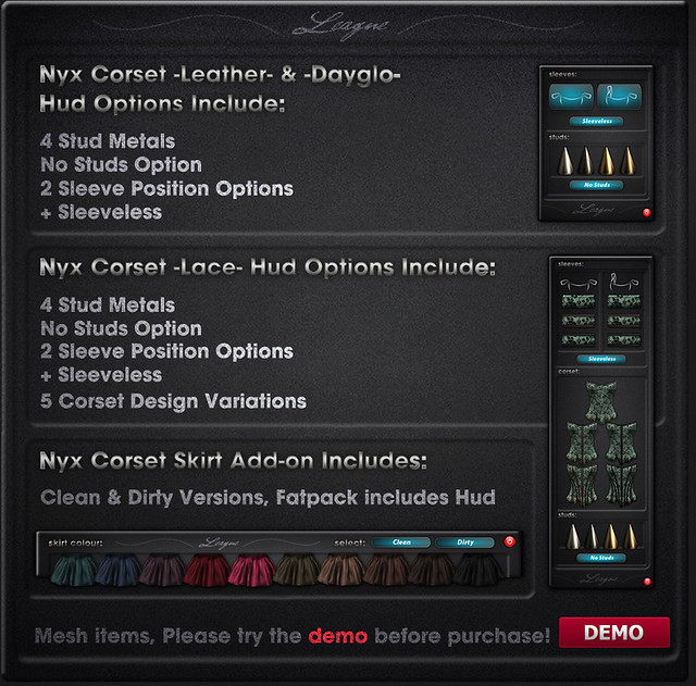Nyx Corset & Skirt Info