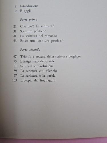 Roland Barthes, Il grado zero della scrittura. Lerici editori 1960, [progetto grafico di Ilio Negri?]. Indice (part.), 1