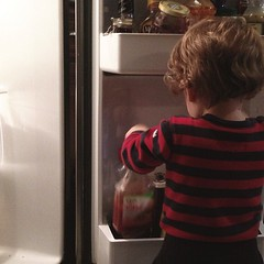 If C helps with dinner it will involve ketchup and syrup and things he can pull out of the fridge