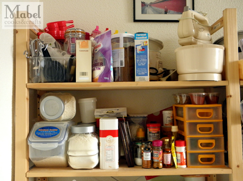 Where I store some of my baking items and goods.