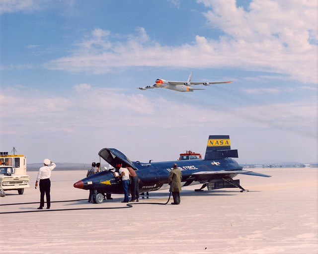 Bell X-15 Rocket Plane and Boeing B-52 Flyover (Public Domain)