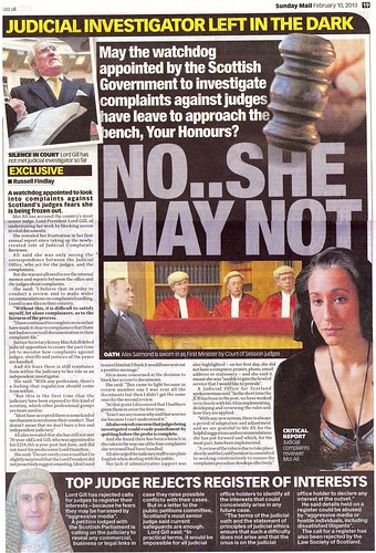 Judicial Investigator Moi Ali left in the dark over complaints against Scottish Judges - NO She May Not 10 Feb 2013 Sunday Mail