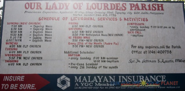 Our Lady of Lourdes Parish Mass Schedule