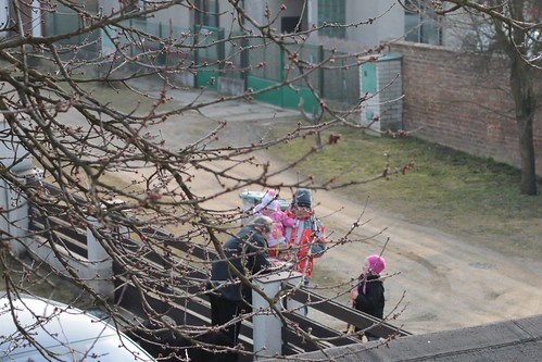 Neighbors coming for sweets and painted eggs