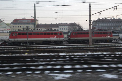 Stabled ÖBB Class 1142 electric locomotives 1142 630 and 1142 672