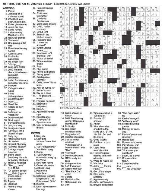 NYT Sunday Puzzle - April 14, 2013