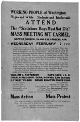 """""""Scottsboro Boys Must Not Die,"""" DC Mass Meeting: 1934"""