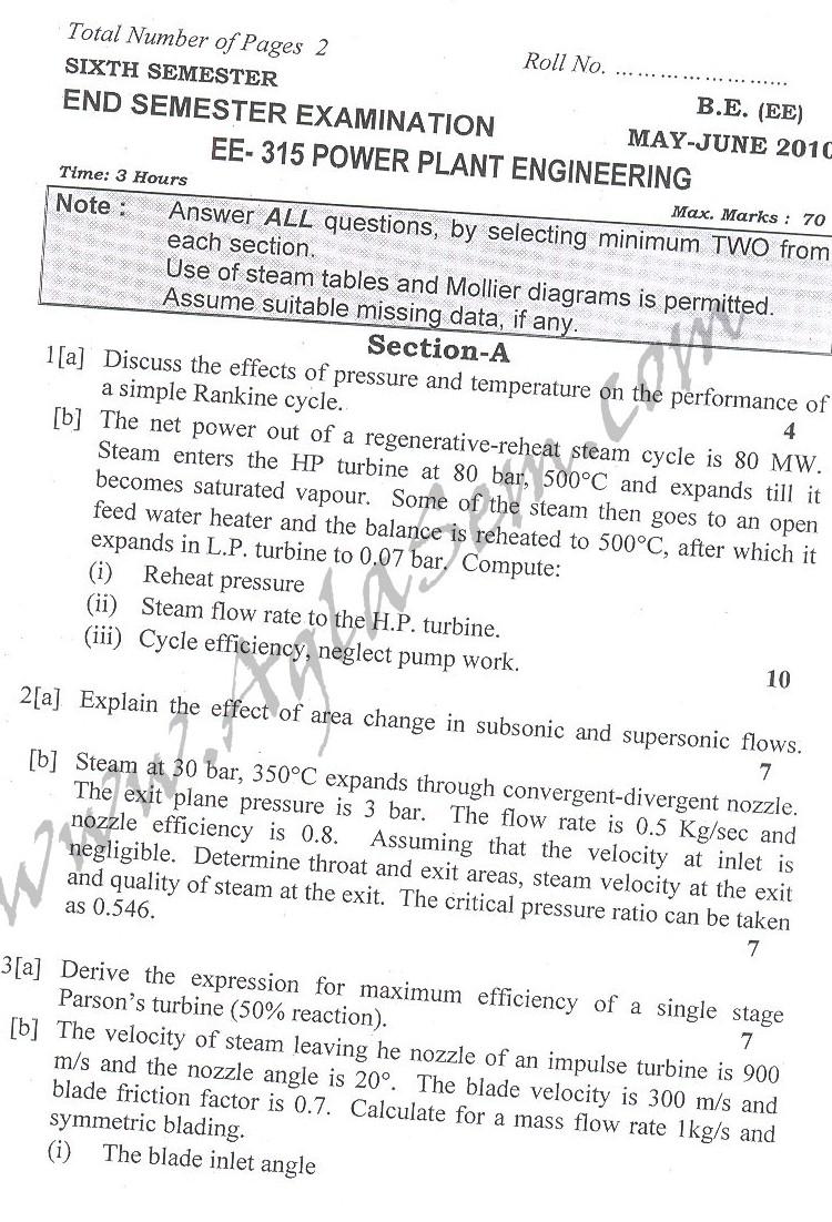 DTU Question Papers 2010 – 6 Semester - End Sem - EE-315