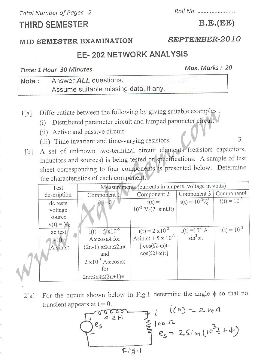 DTU Question Papers 2010 – 3 Semester - Mid Sem - EE-202