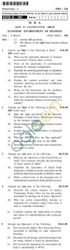 UPTU MBA Question Papers - MBA-216-Economic Environment of Business