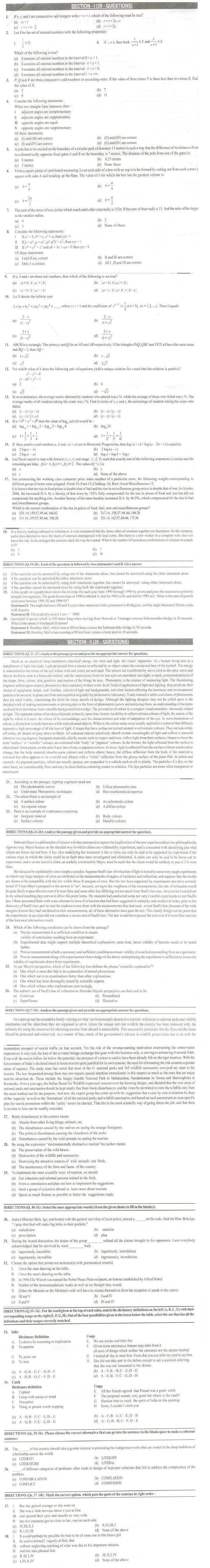Cat Previous Papers Pdf