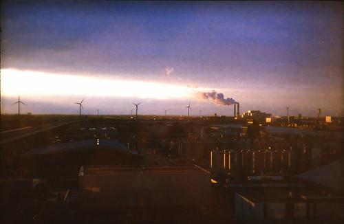Windmills and sunset
