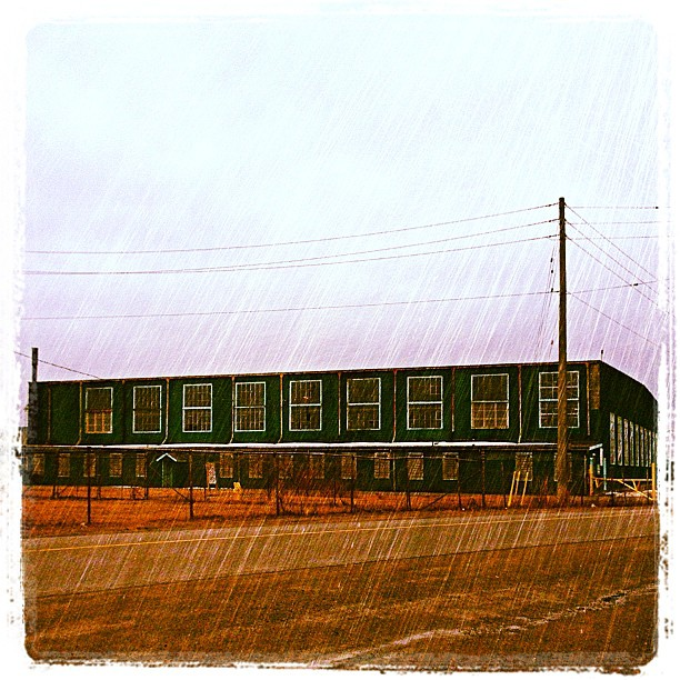Apr 1 - window {lots of windows on an old hangar @ the old army base on a rainy morning} #photoaday #picton #princeedwardcounty