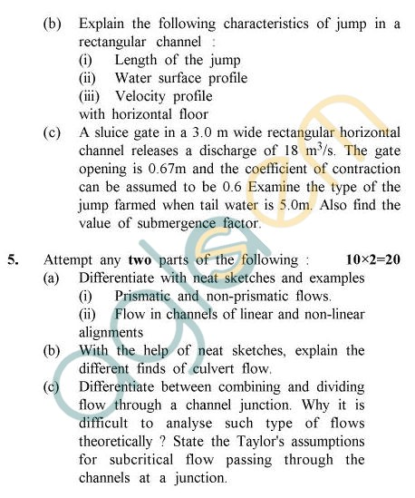 UPTU B.Tech Question Papers - CE-044 - Open Channel Flow
