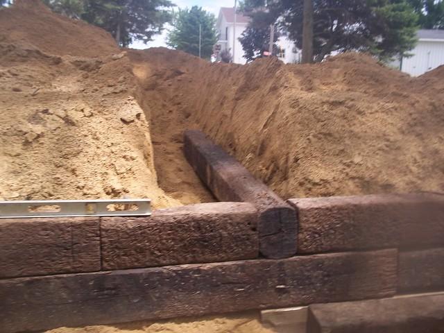 railroad tie retaining wall driveway