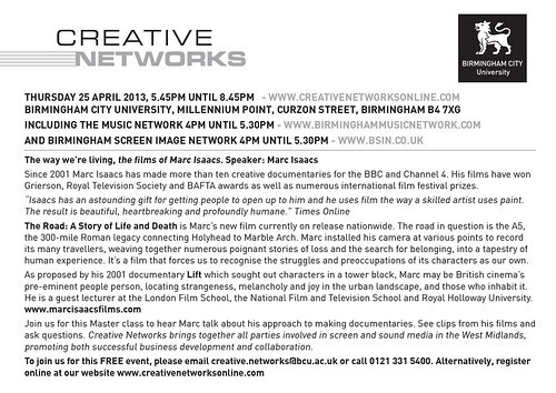 Creative Networks Thursday 25th April 2013