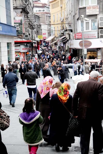 busy pedestrian street