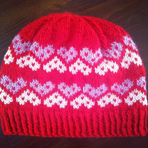 """Not your Valentine"" fair isle hat... Finished! ❤❤❤"