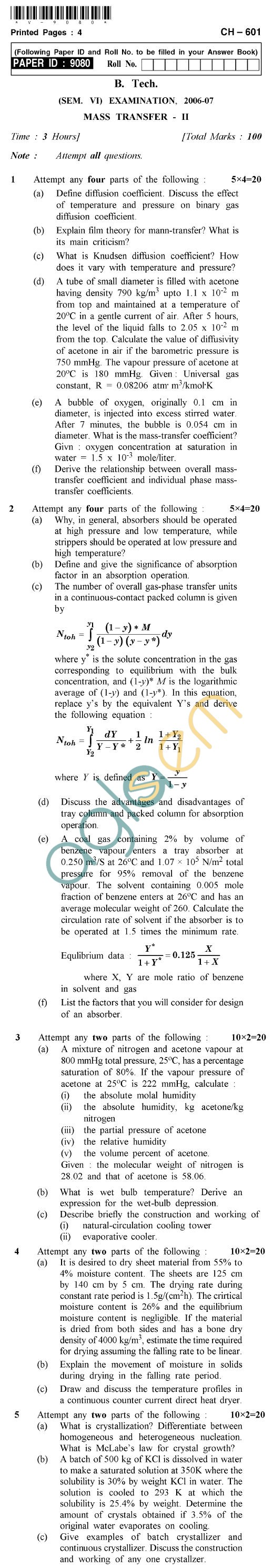 UPTU B.Tech Question Papers - CH-601 - Mass Transfer-II