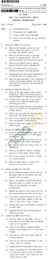 UPTU B.Tech Question Papers - T-803 - Spinning Technology