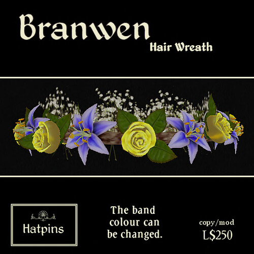 Hatpins - Branwen Wreath - Yellow Roses and Blue Lilies (new)