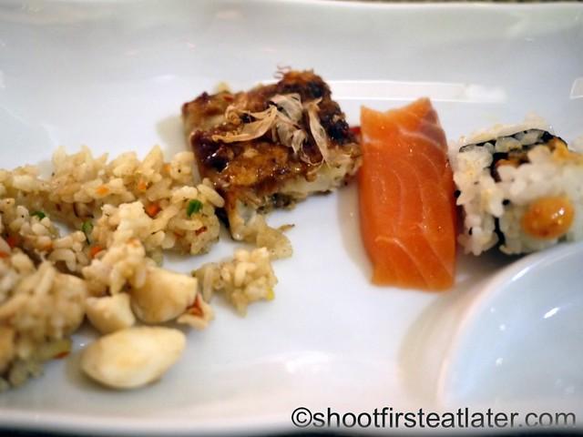 lobster fried rice, okonomiyaki, salmon sashimi, tuna chili sushi