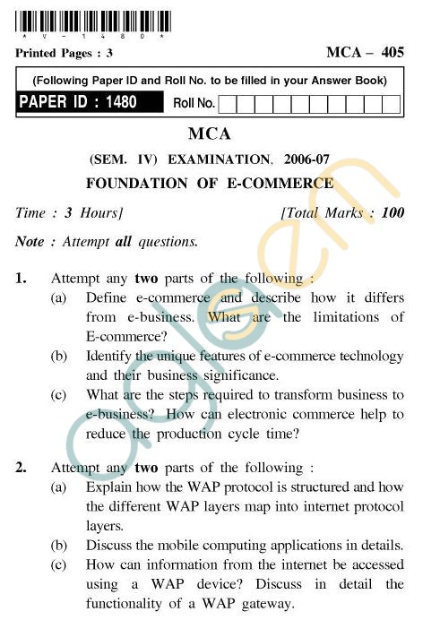 UPTU MCA Question Papers - MCA-405 - Foundation of E-Commerce