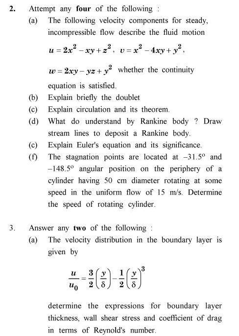 UPTU B.Tech Question Papers -ME-022 - Advanced Fluid Mechanics