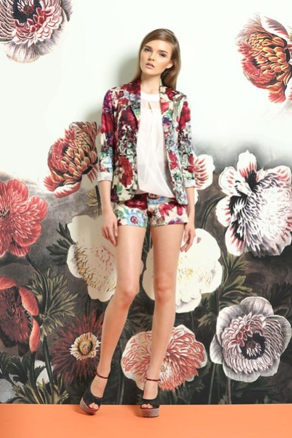 Overall Floral Print Blazer,  Sheer chiffon Overlap Halter top, and Overall Floral Print Shorts