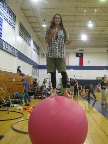 Erin on a giant ball